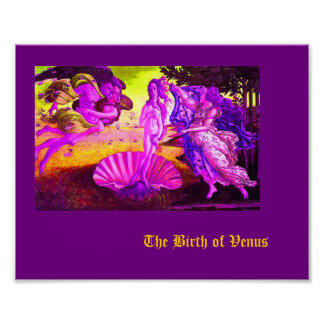 Altered Vintage Botticelli - Purple Birth of Venus Poster