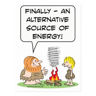alternate alternative source of energy caveman fir postcard