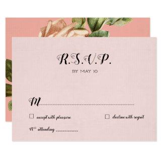 Alternate Blush Vintage Wedding RSVP Card