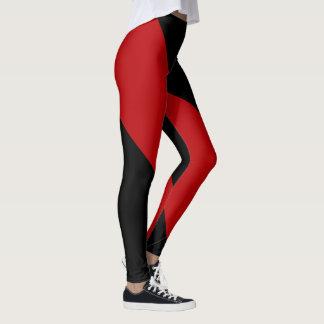 Alternating Black and Garnet Pattern Leggings