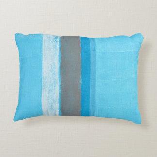 'Alternating' Blue Abstract Art Accent Pillow