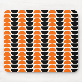 Alternating Crescents in Orange and Black Mouse Pad
