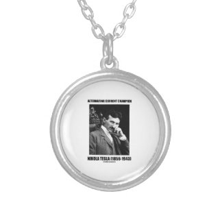Alternating Current Champion Nikola Tesla Round Pendant Necklace