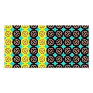 Alternating gearwheels pattern photo card