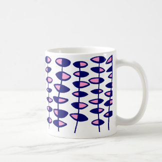 Alternating Leaf Abstract - Pink and Dark Blue Coffee Mug