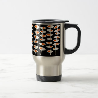 Alternating Leaf - White & Orange on Black 15 Oz Stainless Steel Travel Mug