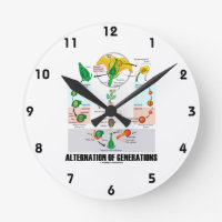Alternation Of Generations (Flower Life Cycle) Round Wall Clocks