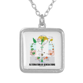 Alternation Of Generations (Flower Life Cycle) Silver Plated Necklace