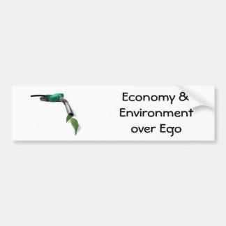 alternativa-combustible, economía y ambiente sobre pegatina para auto