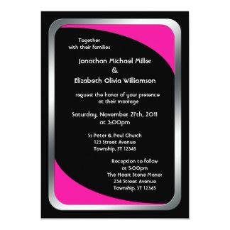 "Alternative Black with Hot Pink Wedding 5"" X 7"" Invitation Card"