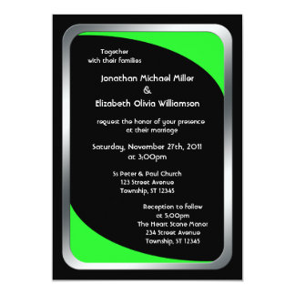 Alternative Black with Neon Green Wedding Card