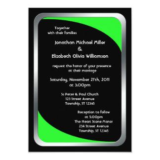 "Alternative Black with Neon Green Wedding 5"" X 7"" Invitation Card"