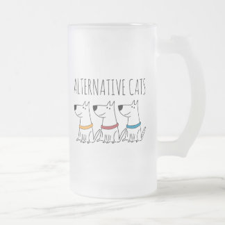 Alternative Cats Frosted 16 oz Frosted Glass Mug