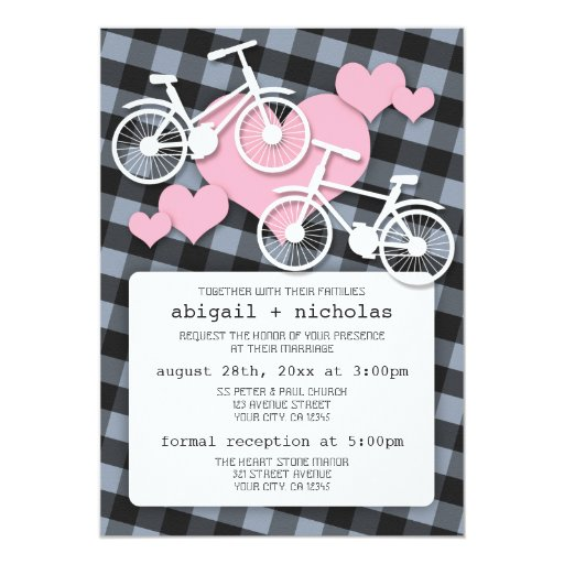 Alternative Gingham Bicycle Wedding Invitations
