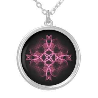 Alternative Goth Pink Celtic Cross Round Pendant Necklace