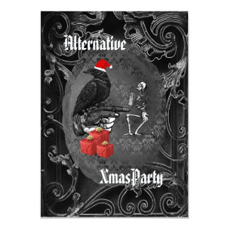 Alternative  Gothic Santa Christmas 5x7 Paper Invitation Card