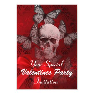Alternative Gothic skull valentines party Card