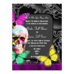 Alternative gothic sugar skull wedding card