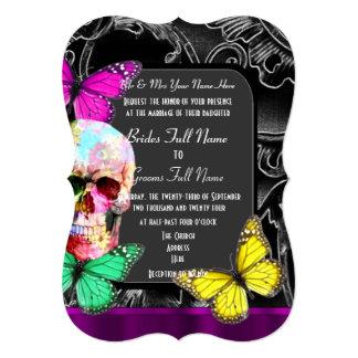 """Alternative gothic sugar skull wedding 5"""" x 7"""" invitation card"""