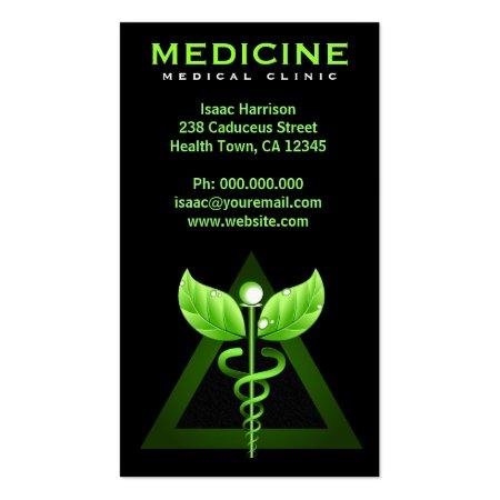 Black and Green Caduceus Medical Symbol Alternative Medicine Business Cards