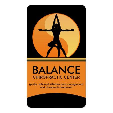 Black and Orange Modern Take on Da Vinci's Vitruvian Man Chriropractor or Alternative Medicine Business Cards