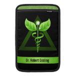 green caduceus rickshaw macbook sleeves, medical