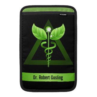 "Alternative Medicine Green Caduceus 11"" Vertical Sleeve For MacBook Air"