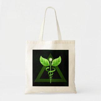 Alternative Medicine Green Caduceus Affordable Tote Bag