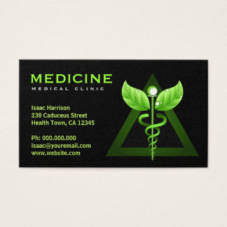 Alternative Medicine Green Caduceus Black Bizcards Business Card