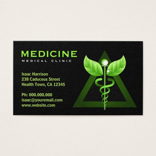 Alternative Medicine Green Caduceus Black Bizcards Business Card