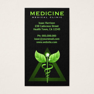 Alternative Medicine Green Caduceus Black Vertical Business Card