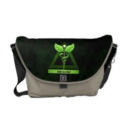 Alternative Medicine Green Caduceus Medical Symbol Messenger Bag