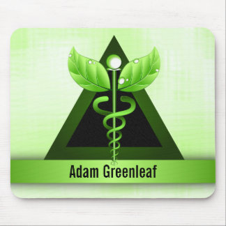 Alternative Medicine Green Caduceus Personalized Mouse Pad