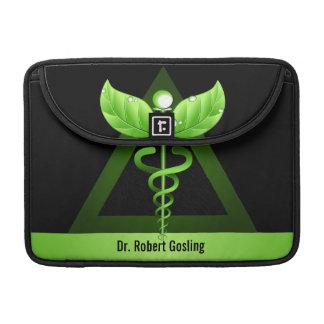 "Alternative Medicine Green Caduceus Symbol 13"" MacBook Pro Sleeves"