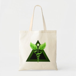 Alternative Medicine Icon Green Caduceus Symbol Tote Bag
