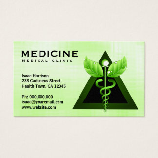 Alternative Medicine Light Green Caduceus Bizcards Business Card