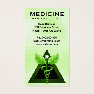 Alternative Medicine Light Green Caduceus Vertical Business Card