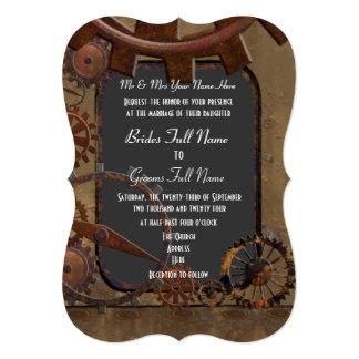 Alternative steampunk wedding 5x7 paper invitation card