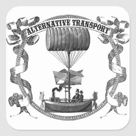 Alternative Transport Dirigible Square Sticker