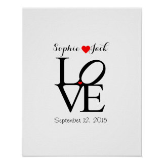 Alternative wedding guest book LOVE choose color Poster