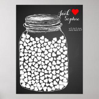 Alternative wedding guest book mason chalk 150 poster