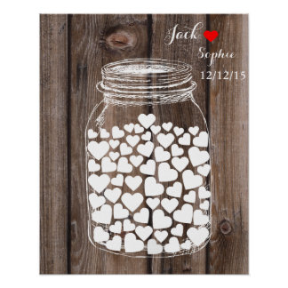 Alternative wedding guest book mason jar wood poster