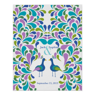 Alternative wedding guest book peacock colourful