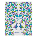 Alternative wedding guest book peacock colourful poster