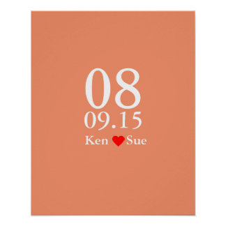 Alternative wedding guest signing book big date poster