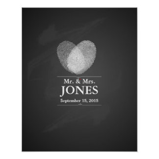 Alternative wedding guest signing book fingerprint poster