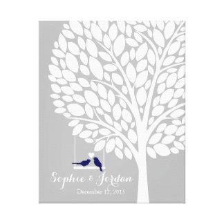 Alternative wedding guestbook heart tree navy