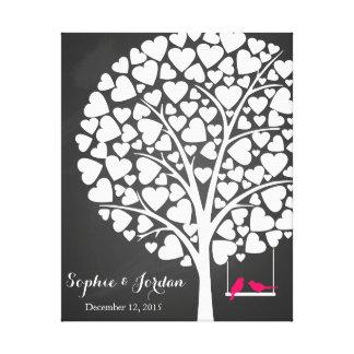 Alternative wedding guestbook heart tree pink