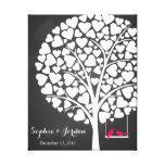 Alternative wedding guestbook heart tree pink canvas print