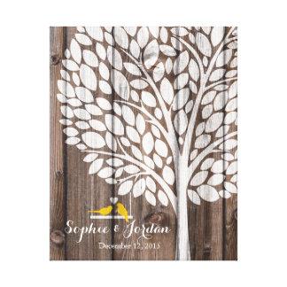 Alternative wedding guestbook heart tree yellow